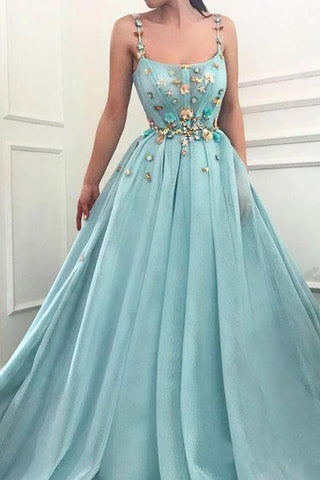Elegant A Line Spaghetti Straps Tulle Scoop Prom Dresses with Appliques, Formal Dresses P1396