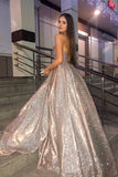 Sparkly Ball Gown Sweetheart Strapless Prom Dresses with Pockets, Dance Dress P1472
