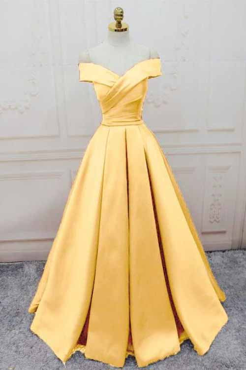 Simple Yellow Off the Shoulder Prom Dresses, Lace up Sweetheart Satin Party Dresses P1050