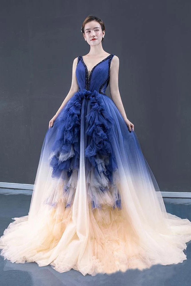 Ball Gown Ombre V Neck Tulle Royal Blue Long Prom Dresses, Quinceanera Dresses P1331