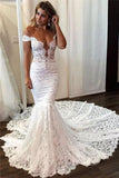 Sexy Off the Shoulder Lace Mermaid Ivory Wedding Dresses, Long Bridal Dresses W1200