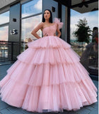 Charming Ball Gown Tulle Pink One Shoulder Long Prom Dresses, Quinceanera Dresses P1362