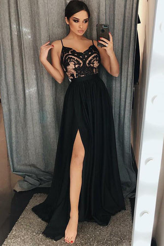 Unique A-Line Chiffon Spaghetti Straps Black Split Long Sweetheart Prom Dress with Lace PH631