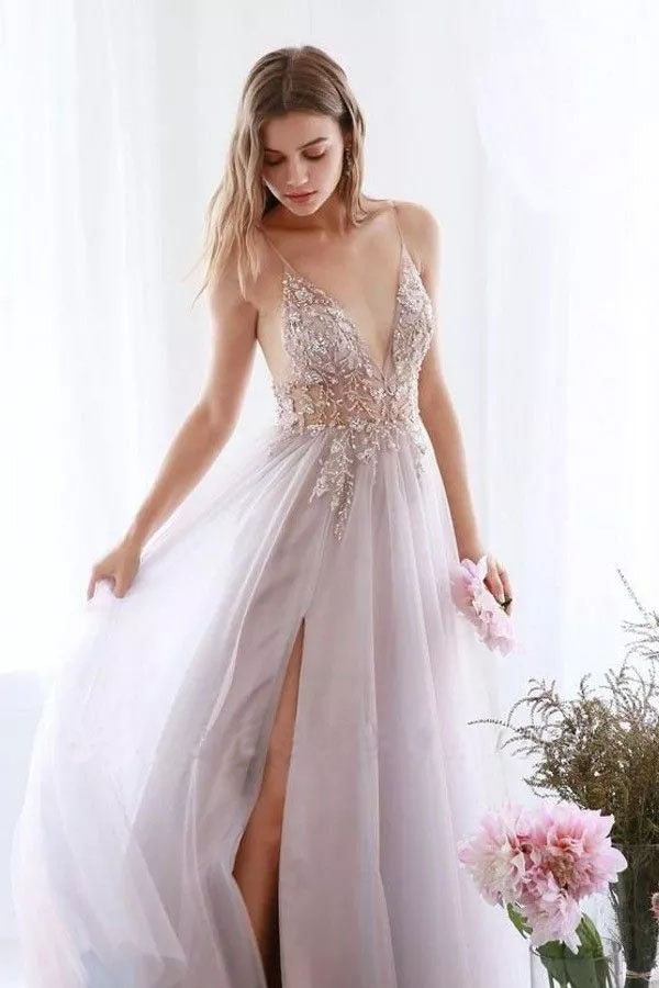 A Line Tulle V Neck Applqiues Prom Dresses With Slit, Spaghetti Straps Long Formal Dresses P1270