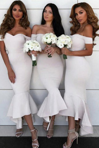 Mermaid Off the Shoulder Sweetheart Ivory Satin Open Back Ruffles Bridesmaid Dresses PH756