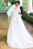 Long Sleeve Off the Shoulder Tulle Wedding Dresses, A line Lace Elegant Wedding Gowns W1165