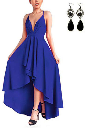 Sexy V Neck Asymmetrical Blue High Low Criss Cross Prom Dresses, Evening Dresses uk PW338