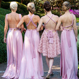 Charming Lilac A-Line V-Neck Floor-Length Convertible Bridesmaid Dresses, Prom Dresses BD1030