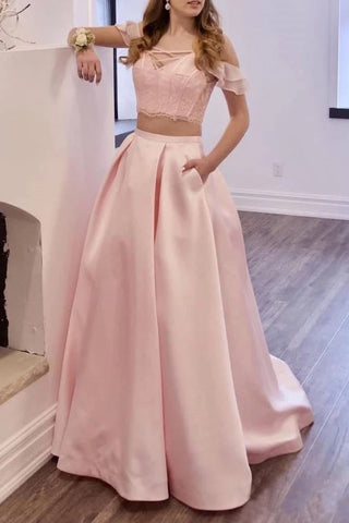Two Piece Off the Shoulder Blush Pink Prom Dresses with Pockets, Long Lace Prom Gowns P1371