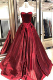 Unique A Line Burgundy Sweetheart Strapless Satin Prom Dresses, Simple Party Dress P1436