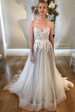 A Line Sweetheart Strapless Backless Silver Grey Tulle Wedding Dresses with Sweep Train PW230