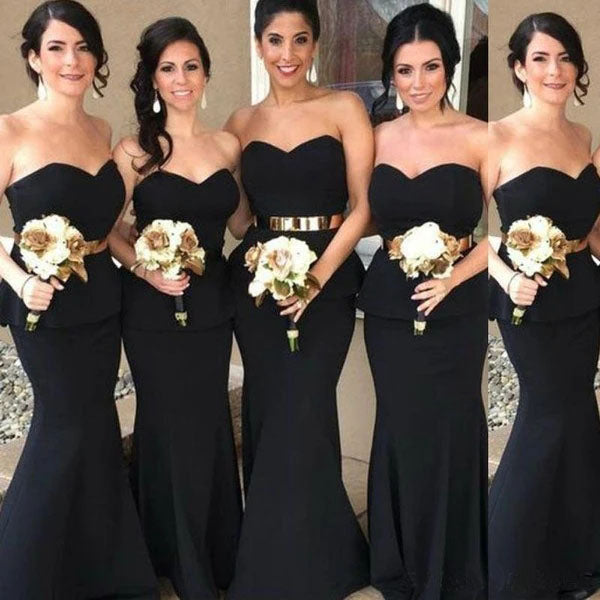 Elegant Mermaid Black Sweetheart Strapless Bridesmaid Dresses with Lace up BD1053