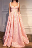 A Line Pink Sweetheart Lace Prom Dresses with Lace Appliques, Long Dance Dresses P1551