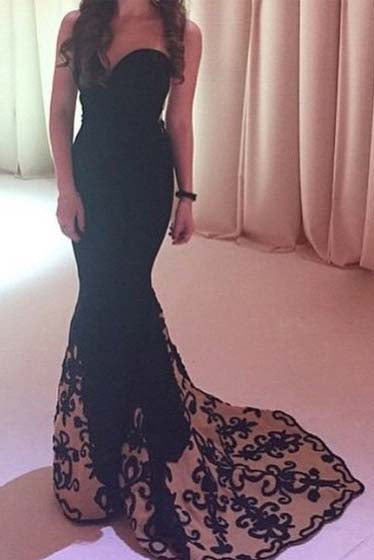 Mermaid Sweetheart Sweep Train Tulle Satin Black with Appliques Lace Prom Dresses uk PM625