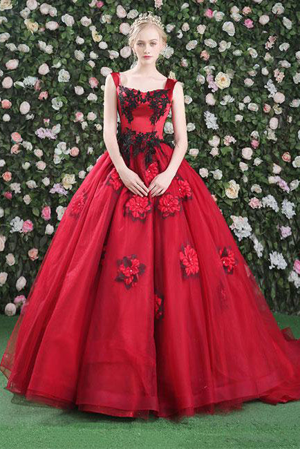 Gorgeous Ball Gown Red Flower Scoop Tulle Lace up Bead Prom Dresses ...