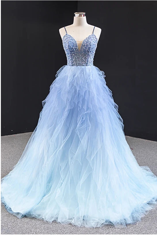 Simple Light Blue Tulle Beaded Long Open Back Ruffles Prom Dress, Evening Dress P1554