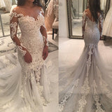 Long Sleeve Sparkly Mermaid V Neck Beads Wedding Dresses With Applique W1153