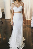 Elegant Two Pieces Lace Mermaid Short Sleeves Tulle Wedding Dresses W1245