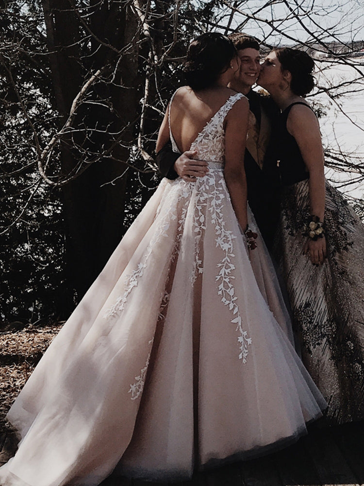 A-Line V Neck Open Back Tulle Long Prom Dresses with Applique, Backless Evening Dresses P1264