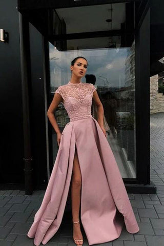 Charming High Neck Beading Satin Pink Cap Sleeves Prom Dresses with Split, Dance Dresses P1368
