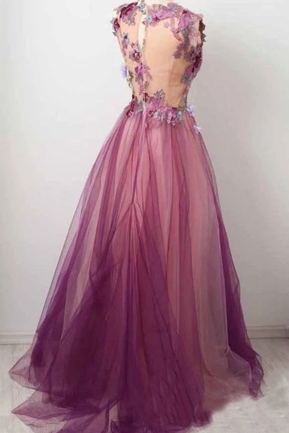 Elegant A line Burgundy Tulle Flower Prom Dresses Scoop Appliqued Party Dresses P1310