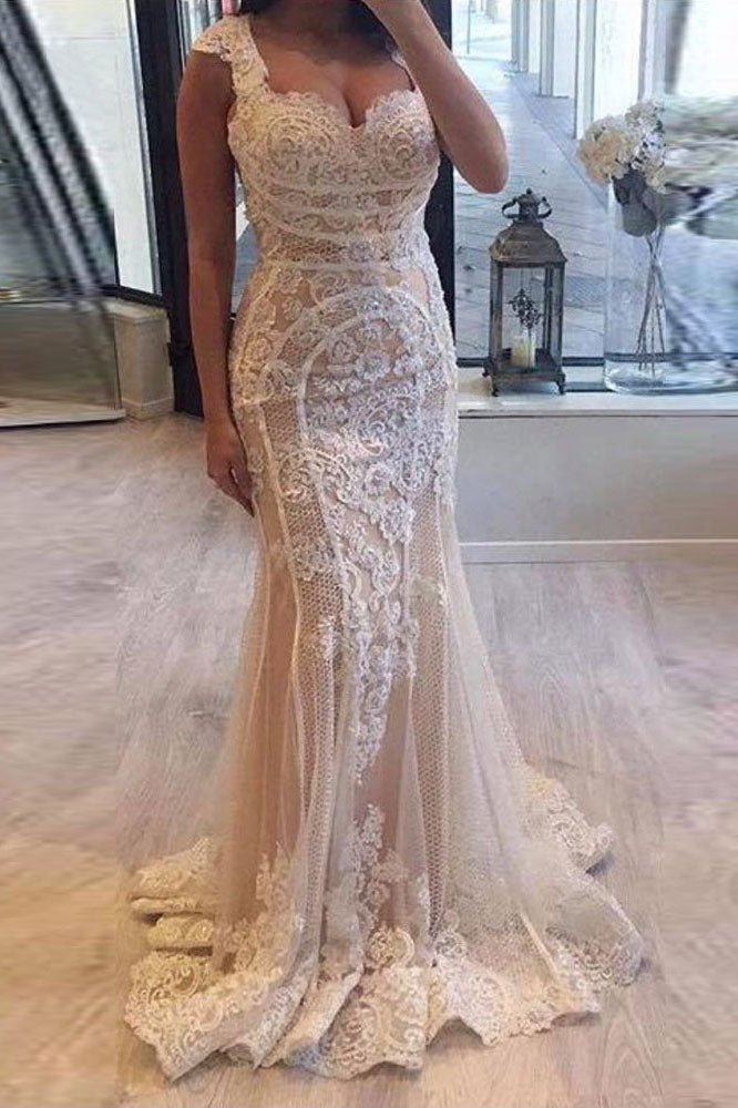Elegant Cap Sleeve Mermaid V-neck Lace Applique Ivory Wedding Dresses W1134