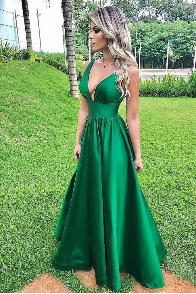Elegant A Line Green Sexy V Neck Long Satin Backless Prom Dresses, Evening Dresses P1408