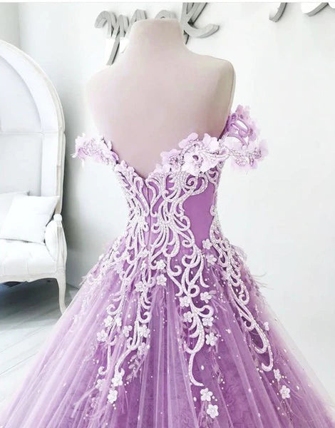 Ball Gown Off the Shoulder V Neck Tulle Lavender Beads Prom Dresses, Quinceanera Dresses P1427