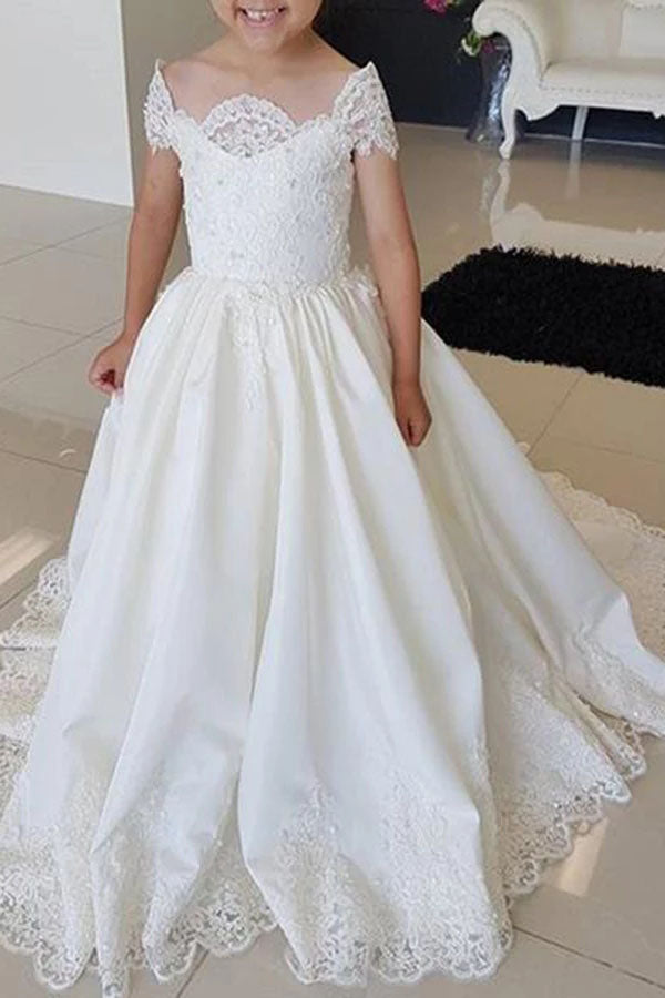 Lovely Cap Sleeves Appliques Ball Gown Little Flower Girl Dresses, Off the Shoulder Baby Dress FG1018