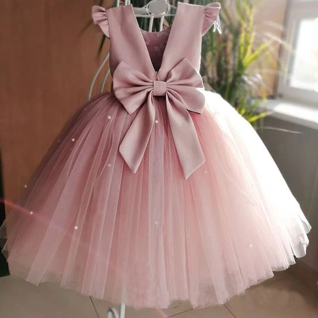Lovely Pretty Pink Round Neck Tulle Flower Girl Dresses, Cheap Wedding Little Girl FG1020