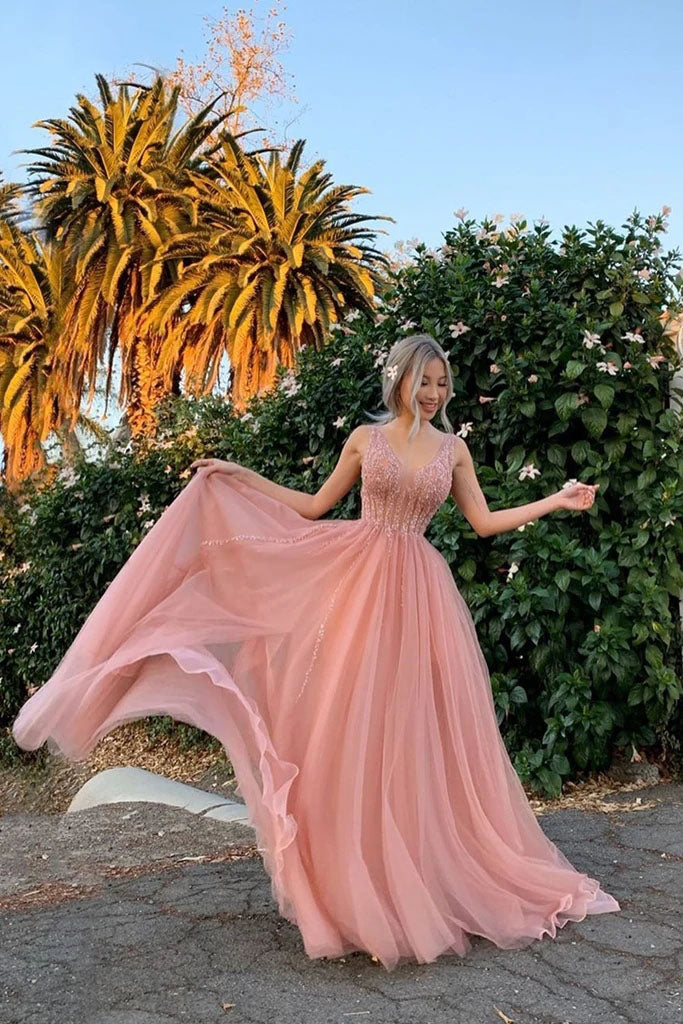 Elegant A Line Tulle Pink V Neck Beads Prom Dresses, Long Evening Dresses P1520