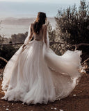 A Line Long Sleeves Ivory V Neck Beach Wedding Dresses with Lace Appliques, Bridal Dresses W1232
