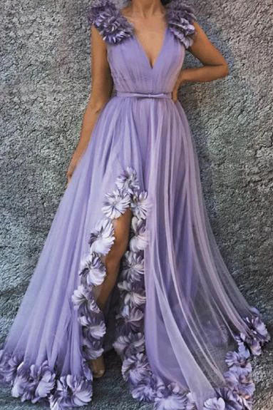 Charming A Line V Neck Long Flowers Rushed Tahiti Prom Dresses With Silt P1376