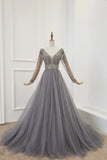 A Line Long Sleeves V Neck Gray Tulle Prom Dresses with Beading, Evening Dress W1430