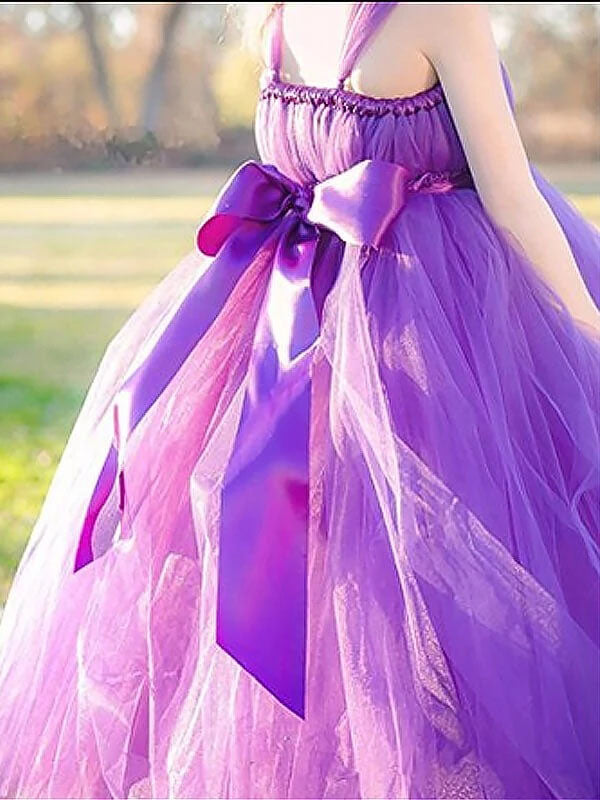Princess Purple Ball Gown Square Neck Layers Tulle Flower Girl Dresses, Bowknot Baby Dresses FG1014