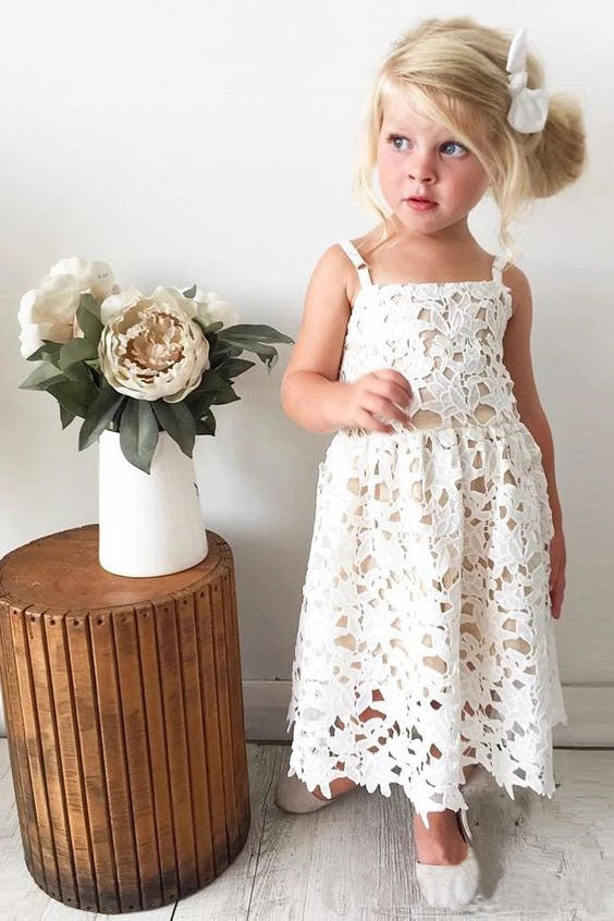 Cute Spaghetti Straps Lace Appliques Flower Girl Dresses, Child Dresses FG1019