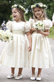 Vintage Juliet Sleeves Tea Length Round Neck Satin Flower Girl Dresses, Little Dresses FG1032