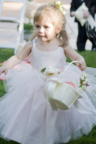 Ball Gown Scoop Neck Tulle Elastic Woven Satin Ankle-length Flower(s) Flower Girl Dresses PH733