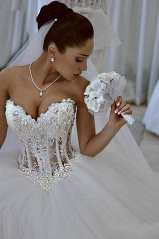 Ball Gown Lace Pearl Beads Unique Arabic Sweetheart White Tulle Princess Wedding Dress PH686