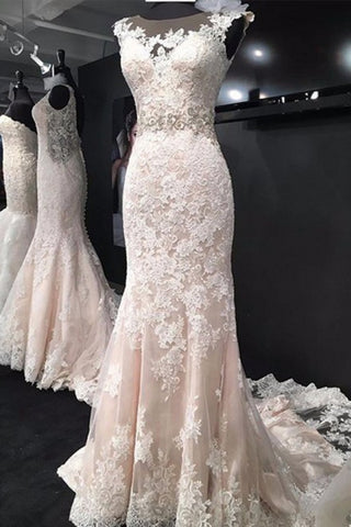 Elegant Bateau Sleeveless Court Train Mermaid Lace Appliques Wedding Dresses uk PW150