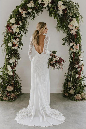 Sheath A Line Long Sleeves Ivory Rustic Lace Backless Scoop Neck Beach Wedding Dresses PH726