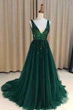 Chic A-Line V Neck Backless Dark Green Tulle Prom Dress with Sequins, Evening Dresses PH696