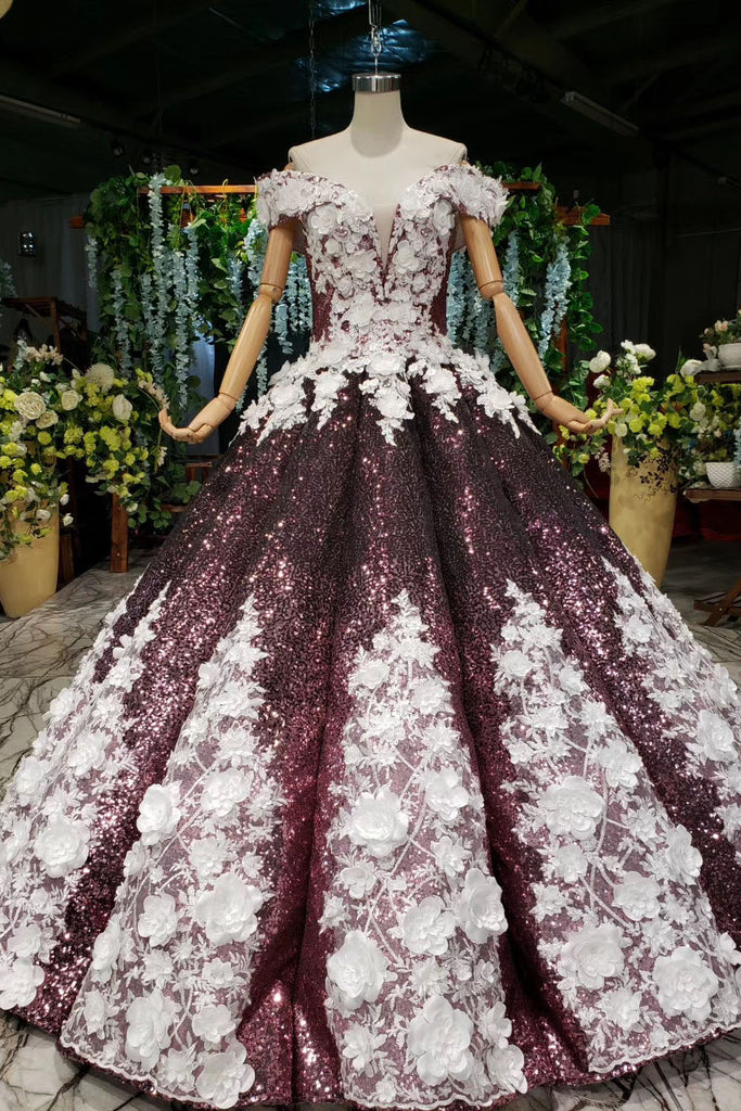 Ball Gown Off the Shoulder V Neck Satin Prom Dresses with Hand Made Flowers, Quinceanera Dress P1364