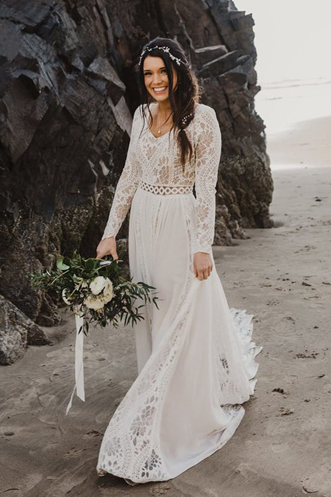 Charming A Lines Long Sleeves V Neck Lace Ivory Beach Wedding Dresses, Bridal Dress W1253