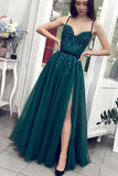 Charming A Line Green Tulle Spaghetti Straps Beading Prom Dresses V Neck Evening Dresses P1395