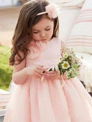 Cute Pink Tulle Flower Girl Dresses with Sash Floor Length, Round Neck Child Dresses FG1023