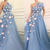 Charming One Shoulder Blue Tulle 3D Flowers Prom Dresses, Long Cheap Dance Dresses P1293