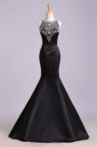 Sexy Black Mermaid Beads High Neck Satin Button Cheap Prom Dresses,Party Dress uk PW173