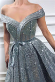 Elegant Sequins Off the Shoulder Sleeveless Prom Dresses, Silver Slit Evening Dresses P1316