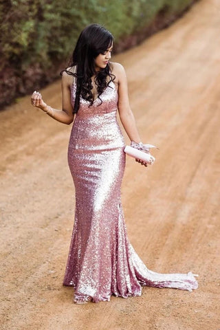 Sparkly Spaghetti Straps Rose Gold V Neck Prom Dresses with Sequins, Dance Dresses P1392